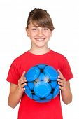 foto of  preteen girls  - Smiling girl with blue ball isolated on white background - JPG