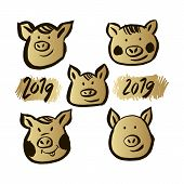 Happy Chinese New Year, Year Of The Pig. Pig  -symbol 2019 New Year.template Banner, Poster In Orien poster
