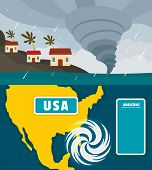 Hurricane Storm Tornado Damage Banner Concept Set. Flat Illustration Of 2 Hurricane Storm Tornado Da poster