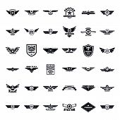 Airforce Military Army Badge Logo Icons Set. Simple Illustration Of 36 Airforce Military Army Badge  poster