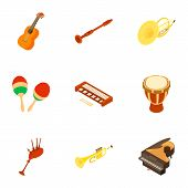Musical Instrument Icons Set. Isometric Set Of 9 Musical Instrument Vector Icons For Web Isolated On poster