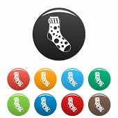 Spotted Sock Icon. Simple Illustration Of Spotted Sock Vector Icons Set Color Isolated On White poster
