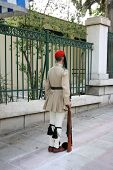 stock photo of evzon  - greek traditional guard of honor tsolias standing - JPG