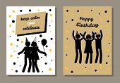 Happy Birthday, Keep Calm And Celebrate, Postcard With Cheerful People In Festive Cones, Abstract Bi poster