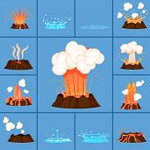 Set Of Volcanic Eruption Of Red-hot Lava And Damping Of Crater. Burst Of Hot Spring Vector Illustrat poster