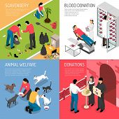 Volunteering Charity Concept 4 Isometric Icons Square With Scavengers Team Blood Donation Animal She poster