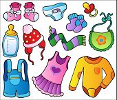 Baby clothes collection - vector illustration.