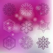 Set Of Snowflakes. Christmas  Card With Snowflakes And Bokeh.beautiful Snowflakes Set For Christmas  poster