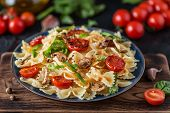 Italian Pasta With Sauce, Cherry Tomatoes, Basil And Parmesan Cheese. Delicious Pasta Plate. Vegan P poster