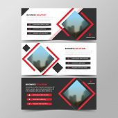 Red Square Abstract Corporate Business Banner Template, Horizontal Advertising Business Banner Layou poster