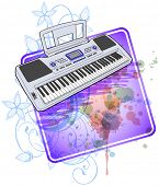 Electronic musical midi keyboard - synth & floral calligraphy ornament - a stylized orchid, color paint background. Bitmap copy my vector ID 71330197