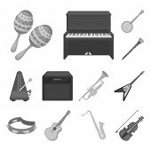 Musical Instrument Monochrome Icons In Set Collection For Design. String And Wind Instrument Vector  poster