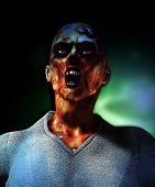 picture of festering  - Close up view of a screaming rotten zombie - JPG