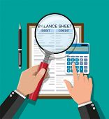 Accountant With Report, Calculator And Magnifying Glass Checks Money Balance. Financial Reports Stat poster