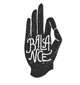 Balance. Vector Illustration Of Hand In Meditating Pose Pose Jnana Or Chin Mudra Yoga Pose And Lette poster