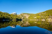 Bear Lake and reflection with mountains in snow around at autumn. Rocky Mountain National Park in Co poster