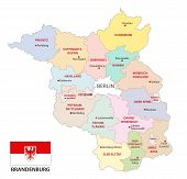 Brandenburg Administrative And Political Vector Map With Flag, Germany poster