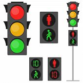 Traffic Lights, Traffic Lights For Pedestrians. Pedestrian Traffic Light. Flat Design, Vector Illust poster