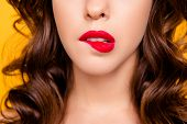 Oops! Close Up Cropped Half Face Portrait Of Worry Confused Lady Biting Low Lip Having Modern Hairdo poster