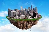 Fantasy Floating Island With Seattle Citys Floating In The Air On A Cloudy Sky. poster