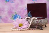 pic of vintage jewelry  - Vintage Jewelry Box With Pearl Necklace and Flower - JPG