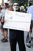 LOS ANGELES - OCTOBER 15: Demonstrator's signs at City Hall in Los Angeles, CA at the Occupy Wall St