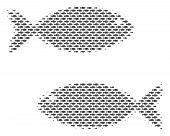 Fish Fish Pair Halftone Collage. Vector Fish Pictograms Are Arranged Into Fish Pair Composition. poster