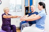 Elderly woman and man doing exercises with physiotherapist on gymnastic balls poster