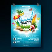 Vector Summer Beach Party Flyer Design With Typographic Elements On Blue Cloudy Sky Background. Summ poster