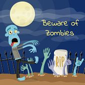 Beware Of Zombies Poster With Undead Monster On Graveyard. Halloween Holiday Party Banner, Festive H poster