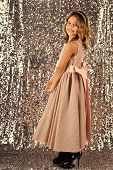 Child Hair Care. Little Girl In Fashionable Dress, Prom. Fashion And Beauty, Little Princess. Fashio poster