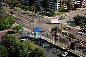 stock photo of lax  - Busy intersection near LAX airport Los Angeles California - JPG