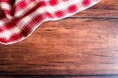 Checkered Red Napkin On An Old Wooden Brown Background, Top View. Image With Copy Space. Kitchen Tab poster