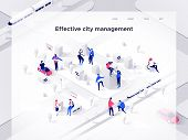 People Build An Isometric City. Smart Technology And Business. Landing Page Concept. 3d Vector Isome poster