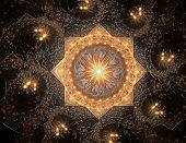 Lacy Colorful Clockwork Pattern. Digital Fractal Art Design. Abstract Design Of Sacred Symbols Signs poster