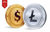 Litecoin. Dollar Coin. 3d Isometric Physical Coins. Digital Currency. Cryptocurrency. Golden And Sil poster