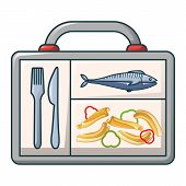 Fish And Pasta In Case Icon. Cartoon Of Fish And Pasta In Case Vector Icon For Web Design Isolated O poster
