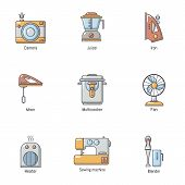 Domestic Place Icons Set. Cartoon Set Of 9 Domestic Place Vector Icons For Web Isolated On White Bac poster