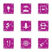 Extreme Day Icons Set. Grunge Set Of 9 Extreme Day Vector Icons For Web Isolated On White Background poster