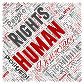 Conceptual human rights political freedom, democracy square red  word cloud isolated background. Col poster