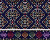Damask Baroque Seamless Pattern And Border Set. Floral Vector Background Wallpaper Illustration With poster