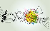 Music Colorful Background With Music Notes And Trumpet Vector Illustration Design. Music Festival Po poster