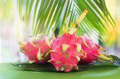 Fresh, Tasty Tropic, Exotic Dragon Pitahya Dragon Fruit Near Palms poster