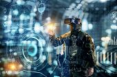 Soldier In Glasses Of Virtual Reality.  Military Concept Of The Future. poster