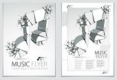 Musical Note Exploding To Pieces, Vector 3d Realistic Illustration Symbol. Hard Loud Sound Concept,  poster