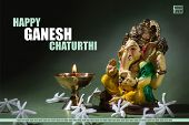 Happy Ganesh Chaturthi Greeting Card Design With Lord Ganesha Idol poster