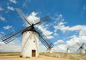 Medieval Windmills of Campo de Criptana, La Mancha, Spain.  Writer Miguel de Cervantes made La Manch