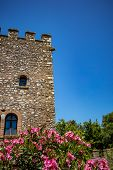 Tower, Blurred Blossoming Bush. Beautiful Warm Spring Day And Archeological Ruins At Butrint Nationa poster