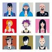 stock photo of emo-boy  - Set of nine portraits of young people  - JPG