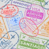 Passport Stamps Pattern. Seamless Page With Airport Arrival And Departure Stamps, Travel And Immigra poster